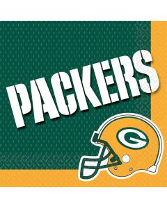 """Green Bay Packers NFL Football 13"""" Luncheon Napkins, Green Yellow White, 16 CT"""
