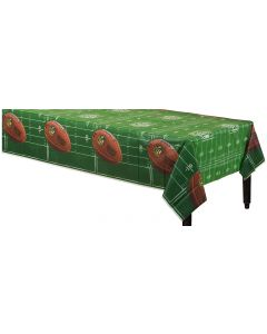 "NFL Drive Football Super Bowl Party 102"" Plastic Tablecover, Green White Brown"