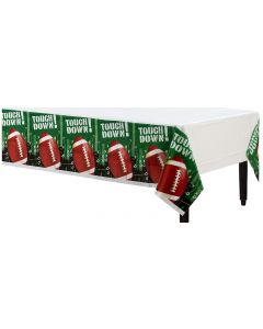 """Amscan Football Frenzy Touch Down Party 54"""" x 84"""" Plastic Tablecover, 3 CT"""