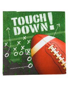 Football Frenzy Touch Down Party 13in Luncheon Napkins, Green, 16 CT