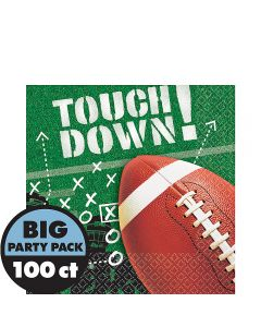 """Amscan Football Frenzy Touch Down Big Party 6"""" Luncheon Napkins, Green, 100 CT"""