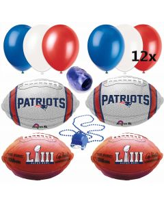 Super Bowl 53 New England Patriots Party 17pc Balloon Pack, Red Blue Silver