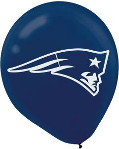 Amscan New England Patriots NFL Football 12in Latex Balloons, Blue White, 6 CT