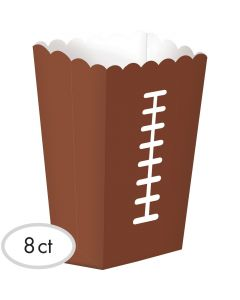 """Amscan Large Football Party Supply Snack 7.5"""" Popcorn Box, Brown, 8 CT"""