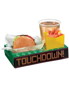 "Amscan Touchdown Football Party Snack Box 9.5"" Serving Trays, Green, 8 CT"
