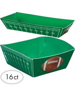 "Football Field Super Bowl Party 5"" Paper Serving Trays, Green White, 16 CT"
