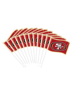 """San Franciso 49ers Small Plastic 10.5"""" Tall Flags, Red Gold Black, 12 CT"""