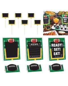 "Amscan Football Field Serving Buffet 12pc 6"" Decoration Pack, Green Black"