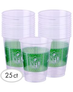 Amscan NFL Drive Football Party Supply 16oz Plastic Cups, Clear Green, 25 CT