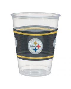 Amscan Pittsburgh Steelers 16oz Plastic Cups, Black Yellow, 25 CT