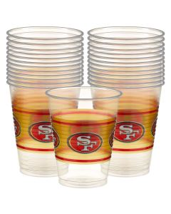 San Francisco 49ers Football Party 16oz Plastic Cups, Clear Gold Red, 25 CT