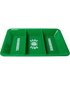 """Amscan Football Game Time Divided Snack Tray 9.5""""x14"""" Serving Tray, Green White"""