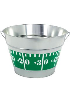 "Amscan Football Field Yard Marker Metal Tub 17"" Drink Cooler, Silver Green"