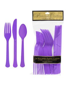Amscan Football Party Plastic Cutlery, Spoons, Forks & Knives, Purple, 24pc