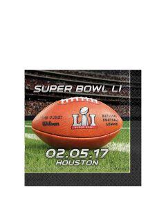 Amscan Super Bowl LI 51 NFL Stadium Football 10in Beverage Napkins, 16 CT