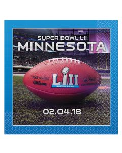 Amscan 2018 Super Bowl LII 52 Football Party 10in Beverage Napkins, 16 CT