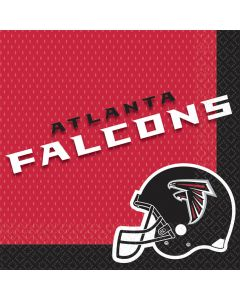 Amscan Atlanta Falcons NFL Football 13in Luncheon Napkins, Black Red, 16 CT