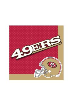 "San Francisco 49ers Football Party 2-Ply 13"" Luncheon Napkins, Gold Red Black"