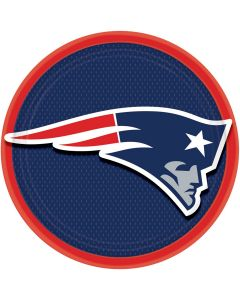"""Amscan New England Patriots Round Paper 7"""" Dessert Plates, Blue Red White, 8 CT"""