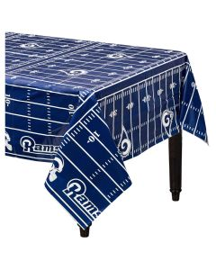 "Amscan Los Angeles Rams Football 54"" x 96"" Plastic Tablecover, Blue White"
