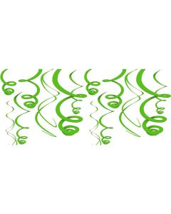 Amscan Solid Color Swirl Decorations 22 in Hanging Whirls, Green, 12 CT