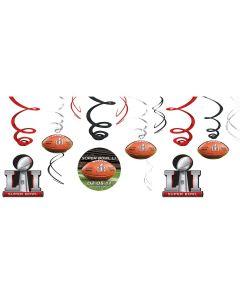 """Amscan Super Bowl LI 51 NFL Stadium 26"""" Hanging Whirls, Brown Red Black, 12 CT"""