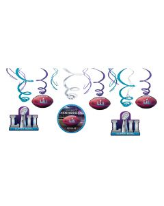 """2018 Super Bowl LII 52 Football Party Swirls 26"""" Hanging Whirls, Blue, 12 CT"""