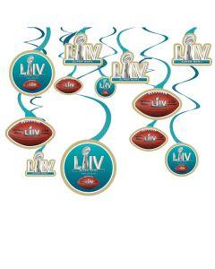 "2020 Super Bowl LIV 54 NFL Football Party Swirls 24"" Hanging Whirls, Blue, 12 CT"