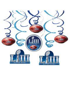 "2019 Super Bowl LIII 53 Football Party Swirls 26"" Hanging Whirls, Blue, 12 CT"
