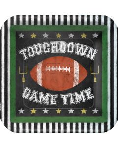 "Amscan Football Game Time 9"" Lunch Plates, Black White Brown, 18 CT"