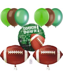 Football Frenzy Super Bowl Party Decorations 9pc Balloon Pack, Green Brown