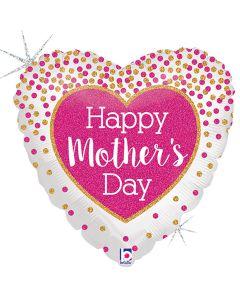 "Glittering Mother's Day Confetti Glitter Holographic 18"" Foil Balloon, White"
