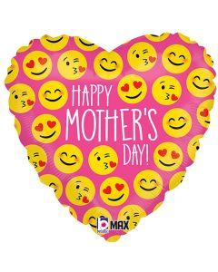 "Betallic Emoji Mother's Day Celebration 18"" Foil Balloon, Pink"