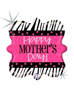 """Betallic Zebra Mother's Day Holographic 18"""" Foil Balloon, Pink"""