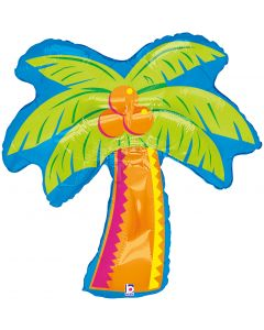 "Tropical Luau Colorful Palm Tree Giant 37"" Foil Balloon, Blue Orange Green"