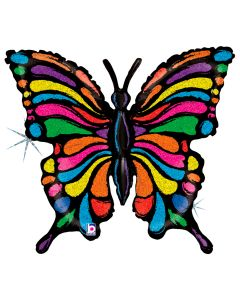 "Betallic Pop Art Rainbow Butterfly Holographic 33"" Foil Balloon, Black Multi"