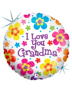 "Betallic I Love You Grandma Holographic 18"" Foil Balloon, White"