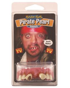 Billy Bob Pirate Pearl False Teeth, White Pink Brown, One Size