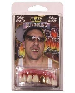 Billy Bob Bling-Bling Golden Grill False Teeth, White Pink Gold, One Size