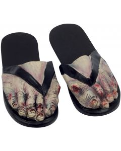 Billy Bob Zombie Crazy Feet Costume Sandles, Grey Black, Medium