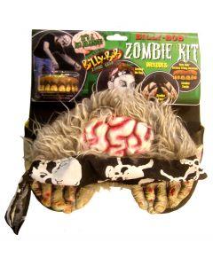 Billy Bob Zombie Wig Teeth & Feet 3pc Costume Accessory Set, One-Size