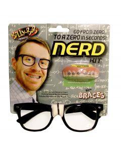 Geek Nerd Glasses Braces Teeth 2pc Costume Accessory Kit, Black White, One-Size