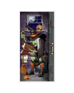 Haunted Halloween Witch Bathroom Restroom 5' Door Cover Poster