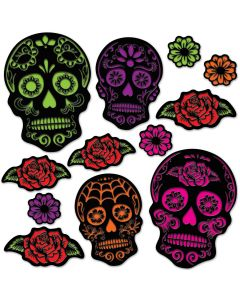 "Beistle Day Of The Dead Sugar Skull Cardstock 12pc 4""-15"" Cutouts"