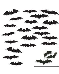 "Bat Silhouettes Decor Halloween Spooky Decorations 20pc 10""-14"" Cutouts, Black"