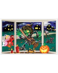 Beistle Crashing Witch Insta-View Decoration 5ft Insta-Theme, Purple