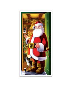 "Inviting Santa Claus with Dog Christmas 30"" x 5' Door Cover, Red Gold Green"
