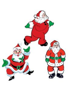 "Beistle Vintage Christmas Santa Decorative 3pc 18"" Cutouts, Red White Green"