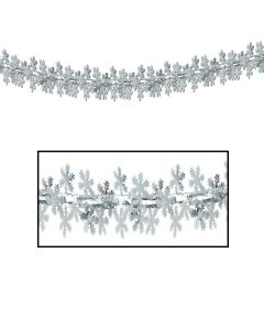 """Beistle Festive Winter Holiday Tinsel Snowflake 12""""x9' Garland, Silver"""