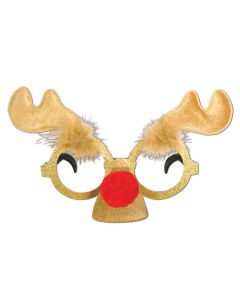 "Beistle Reindeer Antlers & Nose Glitter Novelty Glasses, Brown Gold, 5""x9"""